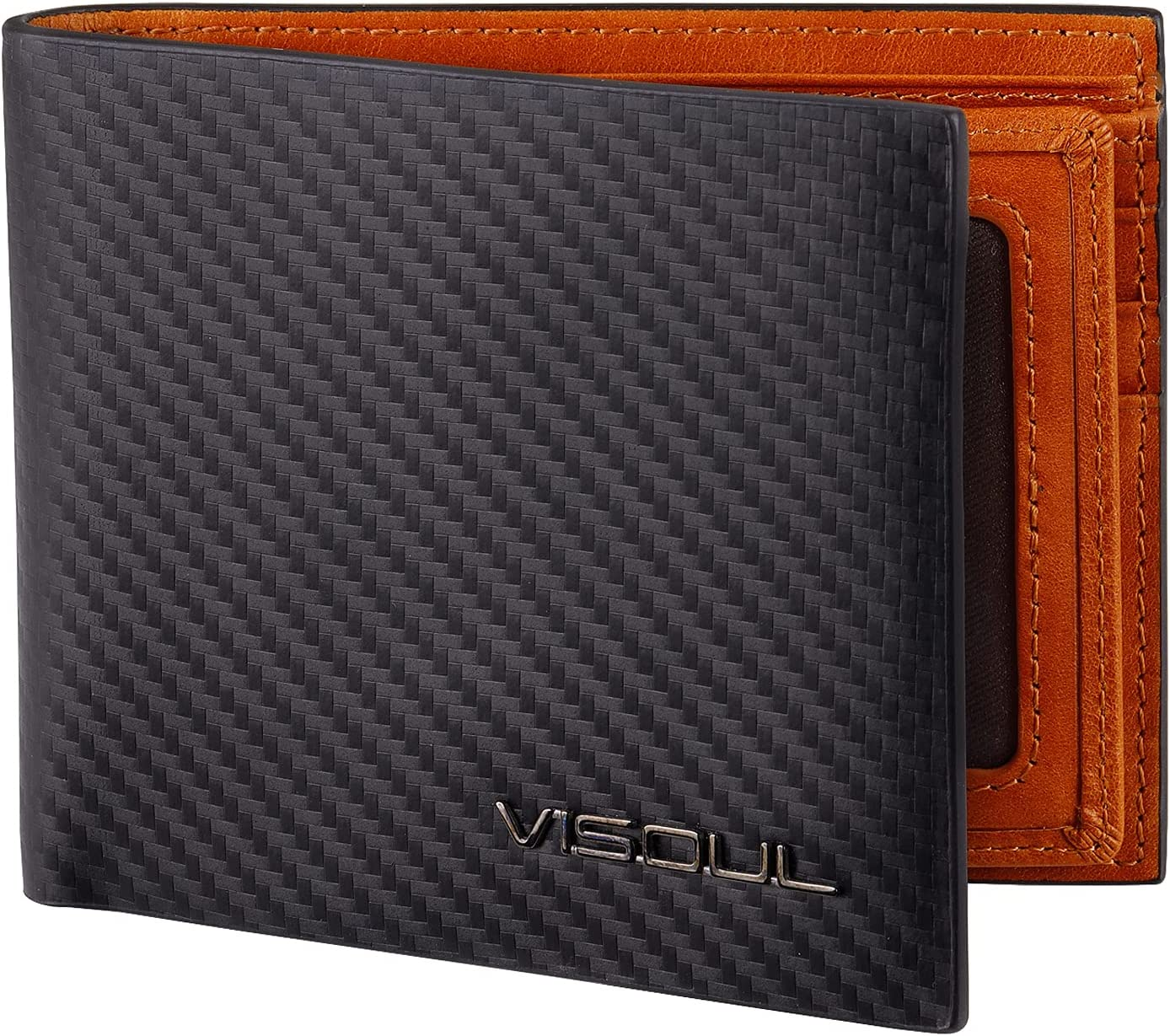 VISOUL Mens Carbon Fiber Leather Bifold Wallet with 2 ID Windows, RFID Blocking Stylish Wallet for Men with 2 Cash Compartments (Black+Orange)