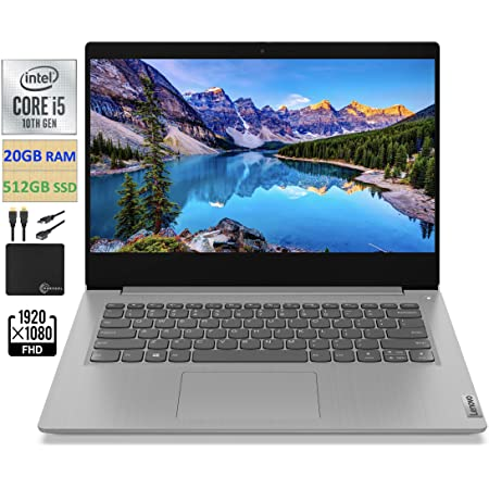"2021 Newest Lenovo IdeaPad 3 14"" FHD Screen Laptop Computer, Intel Quad-Core i5-1035G1 Up to 3.6GHz (Beats i7-8550U), 20GB DDR4 RAM, 512GB PCI-e SSD, Webcam, WiFi, HDMI, Windows 10 + Marxsol Cables"