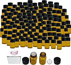 144 Packs Beauticom 2ML Amber Glass Vial for Essential Oils, Aromatherapy, Fragrance, Serums, Spritzes, with Orifice Reducer and Dropper Top