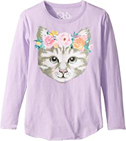 Chaser Kids - Long Sleeve Super Soft Cat Crown Tee (Little Kids/Big Kids)