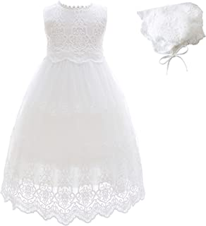 Glamulice Baby Girl Lace Christening Gown Baptism Dress Long Infant Toddler Christening Dress