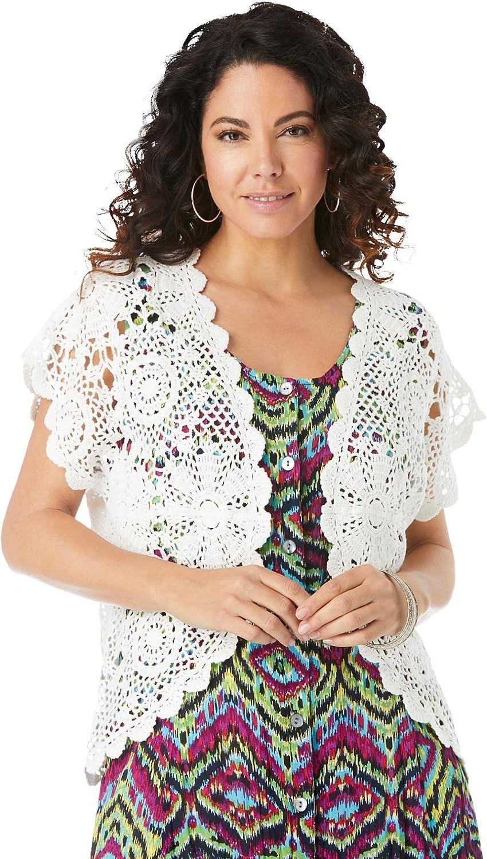 Roamans Women's Plus Size Medallion Crochet Cardigan Short Sleeve Sweater