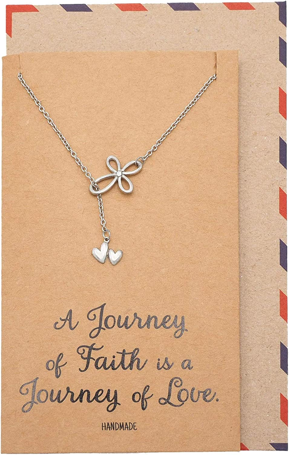 Quan Jewelry Infinity Flowers of Hearts Necklace, 2 Hanging Hearts Pendant, Faith Cross, Greeting Card, 100% Handmade