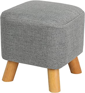 Eshow Padded Footstools Ottoman Foot Rest with Wooden Legs Linen Fabric Cover Grey