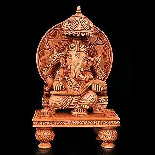 CraftVatika 1 Ft Large Ramayan Reading Ganesha Idol Wooden Ganesh Statue Handmade Sculpture Hindu God Lord Ganesha Home Decor Gifts