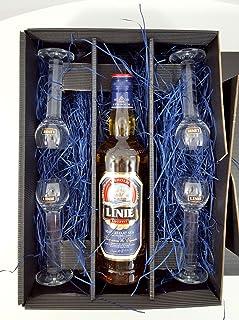 Linie Aquavit Set/Geschenkset  Linie Aquavit 0,7l 700ml 41,5% Vol  4x Gläser