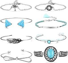 Hanpabum 8 Pcs Turquoise Cuff Bracelet for Women Girls Knot Stackable Open Bangle Bracelet Set Adjustable Silver Tone Gold Tone