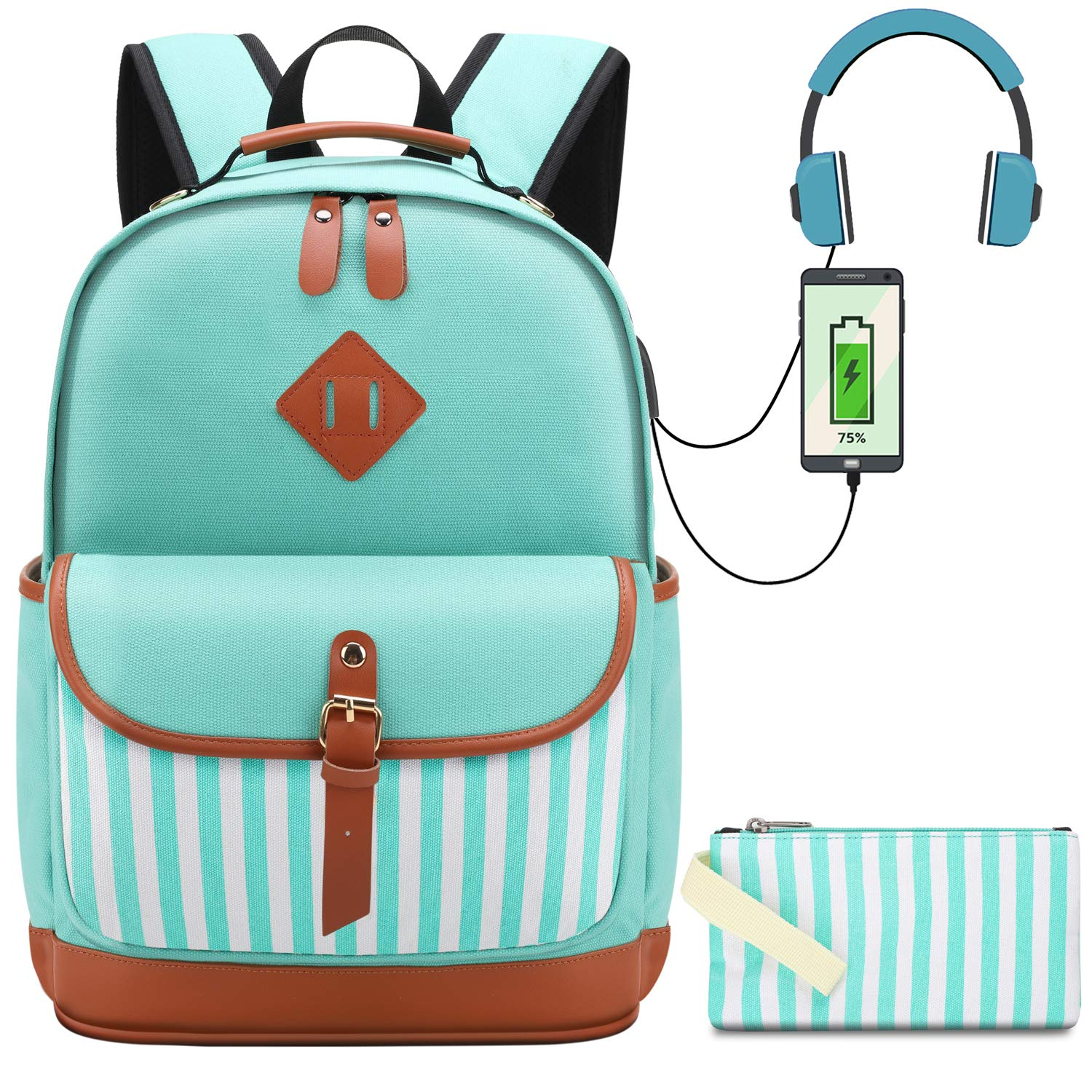 Canvas School Backpack College Daypack