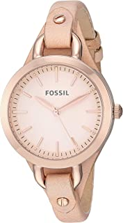 Fossil Womens Classic Minute Stainless Steel Quartz Watch with Leather Strap, Beige, 7.5 (