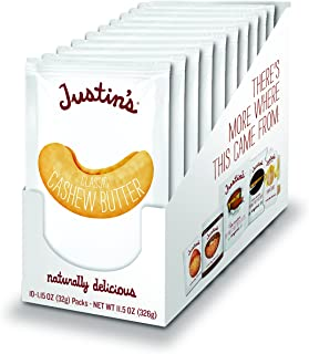 Justin's Classic Cashew Butter Squeeze Packs, Only Two Ingredients, Gluten-free, Non-GMO, Responsibly Sourced, 1.15 Oz, Pa...