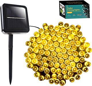 SANJICHA Solar String Lights, IP65 Waterproof Solar Lights Outdoor, 72ft 200 LED 8 Modes Christmas Fairy Lights for Wedding Patio Garden Yard Party (Warm White)