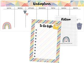 3 bloki do planowania tygodniowego, notatek i listy rzeczy do zrobienia – planer dzienny geometryczny – idealne do szkoły,...