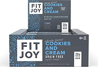 FitJoy Protein Bars, Gluten Free, Grain Free, High Protein Snacks - Low Sugar, Low Carb, 20g Protein Bar – Cookies & Cream, 12 Pack of 2.11 oz. Bars (Packaging May Vary)