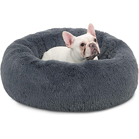 Bedsure Calming Dog Bed for Small Dogs Cats - Washable Donut Round Dog Bed, 23 inches Anti Anxiety Fluffy Plush Faux Fur Cat Bed, Fits up to 25 lbs, Dark Grey, Self Warming