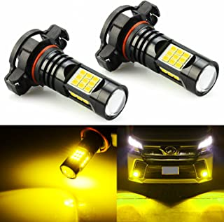 JDM ASTAR 2400 Lumens Extremely Bright PX Chips 5202 5201 LED Fog Light Bulbs for DRL or Fog Lights, Golden Yellow