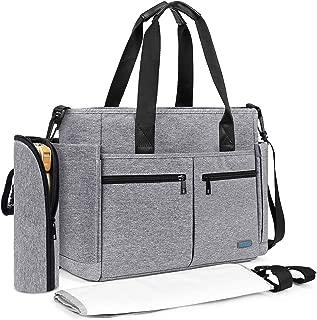 Diaper Tote Bag, Srotek Large Baby Diaper Bag Organizer Travel Baby Bag Water-Resistant Messenger Nappy Bag with Changing Pad for Women/Girls/Mum/Boys/Dad (Gray)