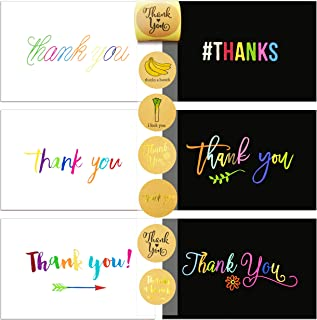 72 Thank You Cards Set and Sealer Sticker Assortment, 36 White and 36 Black Thank You Flat Notes Greeting Cards, Blank Card, 12 Rainbow Designs, with Thank You Cards and Envelopes, 4 x 6 Inches
