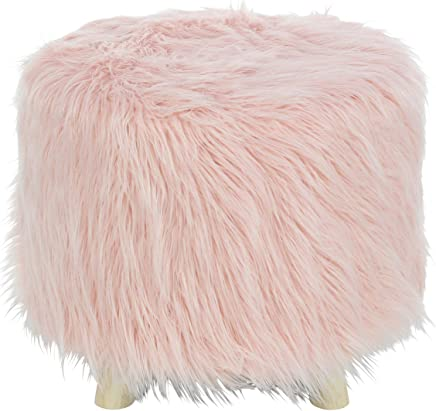 Deco 79 98771 Wood and Faux Fur Foot Stool 19 W,  16 H Brown/Pink
