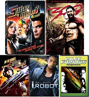 Get Ready! Fast Action On All Cylinders Sci-Fi Furious Frank Miller 300 + Starship Troopers 3 Maurader / I, Robot 4 Movie Pack