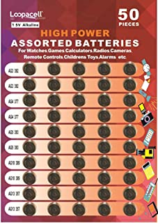 Loopacell High Power Super Alkaline Button Cell Assorted 1.5V Battery AG3/LR41 AG4/LR626 AG5/LR754 AG10/LR1130 AG13/LR44 Pack of 50