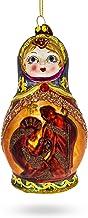 BestPysanky Russian Matryoshka with Nativity Glass Christmas Ornament