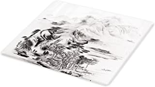 Lunarable Asian Cutting Board, Chinese Painting Style Mountain Range View Trees Majestic Nature Sketchy Illustration, Decorative Tempered Glass Cutting and Serving Board, Large Size, Grey Black