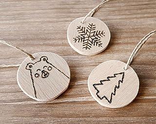 Adornos rústicos de madera para el árbol de Navidad