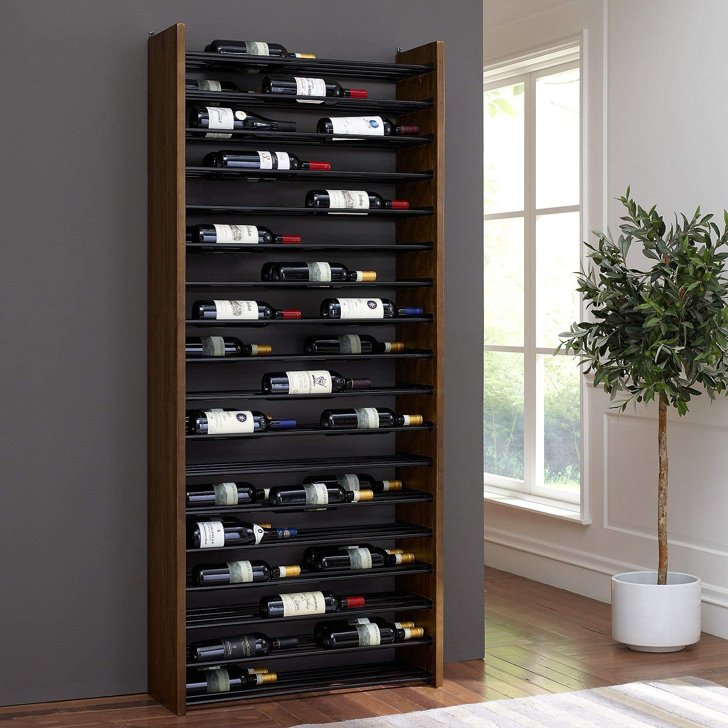 Corsica Triple Depth Vertical Wood Wine shopping famous Rack Metal and