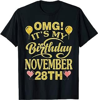OMG It's My Birthday On November 28th Vintage Retro Happy T-Shirt