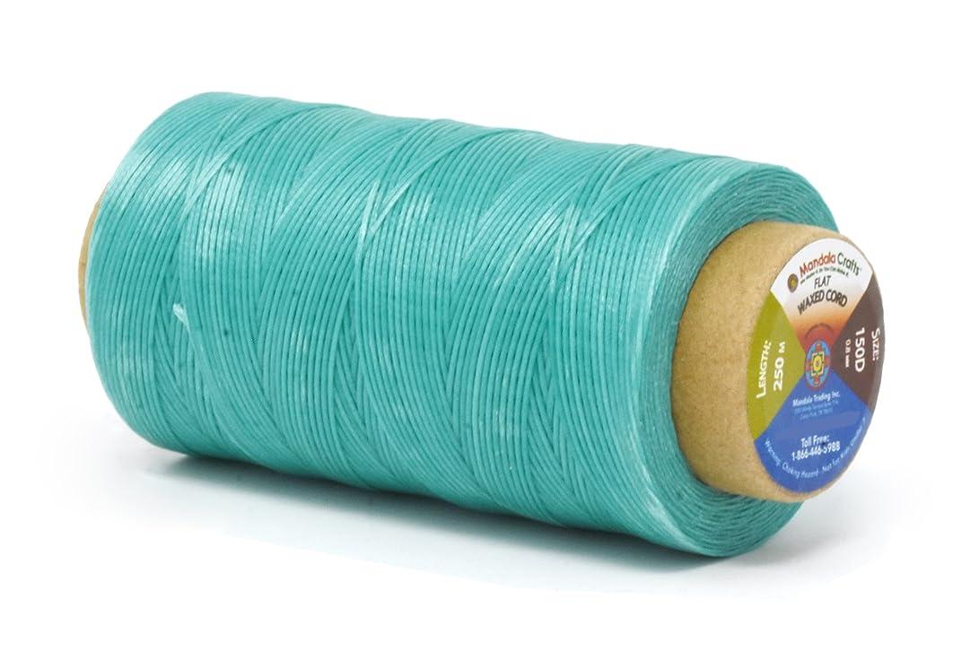 Mandala Crafts 150D 210D 0.8mm 1mm Leather Sewing Stitching Flat Waxed Thread String Cord (150D 0.8mm 250M, Aquamarine)