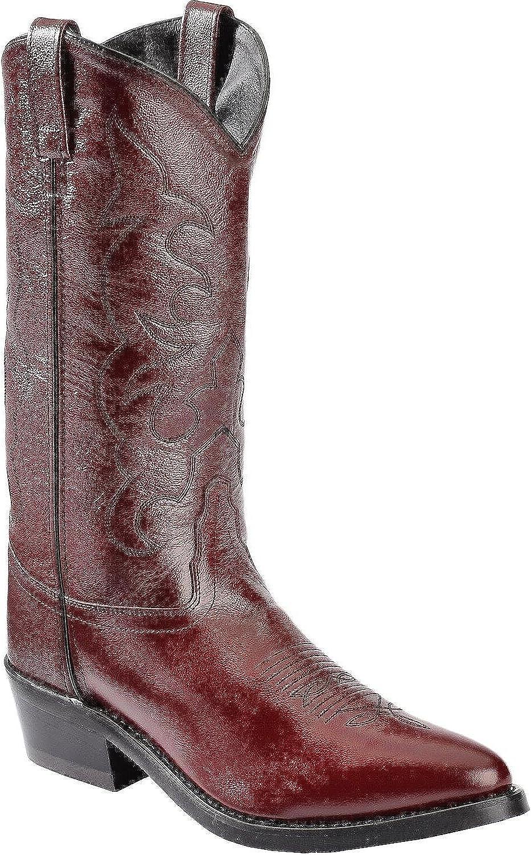 Old West Cowboy Boot Men Tough Work Outsole 12 EE Black Cherry TBM3013