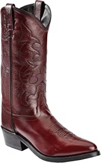 Old West Black Cherry Mens All Leather 13in Narrow Round Toe Cowboy Boots 11 EE