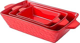 Bruntmor Rectangular Ceramic Glaze Bakeware Set, Baking Pan Hammered Dish for Cooking, Kitchen, Cake Dinner, Banquet and D...