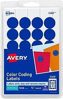 ملصقات لاصقة ذاتية اللصق قابلة للإزالة من أفيري برينت/ كتابة بقطر 1.9 سم، أزرق داكن، 1008 لكل عبوة (5469)