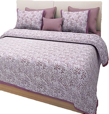 Jaitik Creations 100% Cotton Traditional Sanganeri Print Double Bedsheet with 2 Pillow Covers- King Size JC_0171