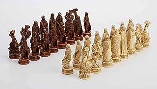 Veronese Design 3 1/4 Inch Viking Chessmen Set Hand Painted Resin Wood Ivory Finish Statue Home Decor