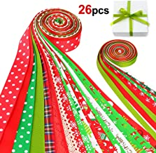 Konsait 26Pack Christmas Ribbons Trims Grosgrain Ribbons Multicolor Organza Ribbons Satin Ribbons Metallic Glitter Ribbons for Xmas Decor Winter Holiday Festival Season Wrapping