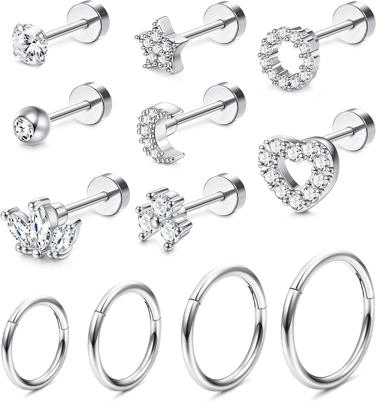 Jstyle 12Pcs 18G Stainless Steel Helix Cartilage Tragus Stud Earring Hoops for Women CZ Barbell Piercing Earrings Stud Piercing Jewelry