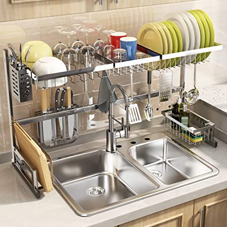 """SNTD Over The Sink Dish Drying Rack, Width Adjustable(32""""≤Sink Size ≤ 40"""") Stainless Steel Kitchen Supplies Storage Counter Organizer, Silver"""