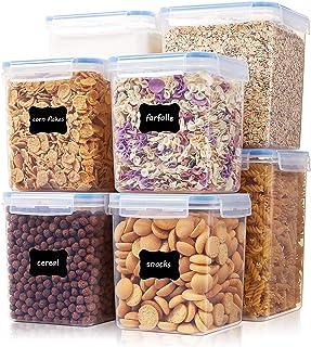 Vtopmart Lot de 8 boîtes de rangement hermétiques en plastique sans BPA pour aliments en vrac, farine, sucre et pâtisserie...