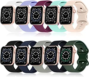 Mocodi 10 Pack Sport Bands Compatible for Apple Watch Bands 38mm 40mm,Soft Silicone Sport Women Men Replacement Strap Compatible with iWatch Series SE/6/5/4/3/2/1(38mm/40mm-M/L, Large)