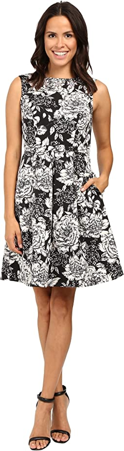 Lined Antique Elegance Printed Faille Fit and Flare Dress