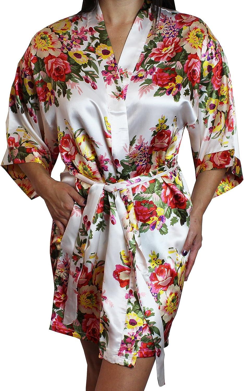 Women's Floral Satin Kimono Short Bridesmaid Robe with Pockets -