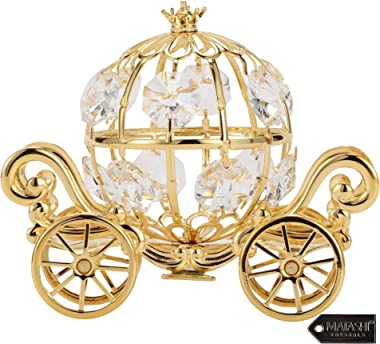Matashi 24K Gold Plated Crystal Studded Small Cinderella Pumpkin Coach Figurine Ornament for Kids Teens and Adults Romantic G