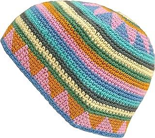 Medium-Long Skull Cap Beanie Hat Crochet 100% Natural Cotton Reggae Patterns Red