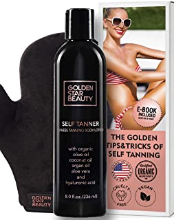 Self Tanner with Tanning Mitt - Sunless Tanning Lotion w/Hyaluronic Acid & Organic Oils Gradual Body Bronzer for Light or Medium Tan 8.0 fl.oz …