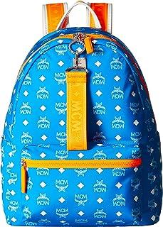 MCM Mens Resnick White Logo Nylon Backpack 40 White Logo T. Blue One Size
