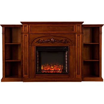 SEI Furniture Southern Enterprises Chantilly Electric Fireplace with Bookcase, Autumn Oak Finish