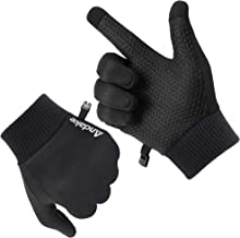 Andake Men's Running Gloves Warm Touch Screen Workout Gloves with Non-Slip Slilicon