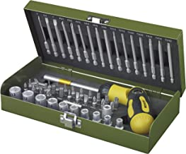 Proxxon 23104 Juego carraca/Puntas, Llaves de Vaso, Soporte magnético, Uso Especial para Trabajar con Destornillador eléctrico o Taladro, 54 Piezas, Gris